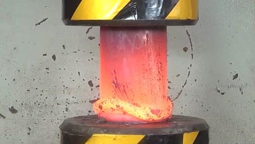 烧红了的大铁柱vs200吨位的液压机,结果真是惨!