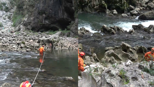 老人深山峡谷中钓鱼摔伤被困 消防员徒步跋涉担架抬出受伤老人