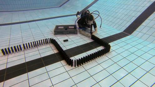 水下玩多米诺骨牌是怎样的体验?过程看着艰难,最后效果太赞了!