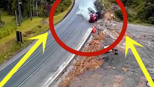 大货车连续下坡致刹车失灵,瞬间车毁人亡,监控拍下恐怖瞬间!