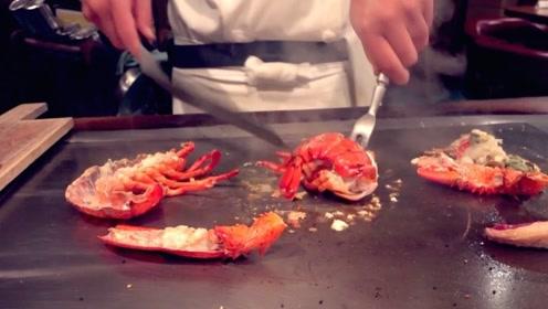 日本顶级大厨挑战铁板活龙虾,油烧至滚烫,虾尾仍在拼命挣扎逃生