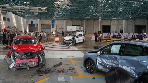 实拍全球首次电动汽车三车碰撞试验,结果相当惨烈!