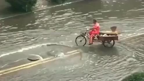 路上偶遇正能量,大爷用自己的三轮车挡住下水道,只为让行人安全
