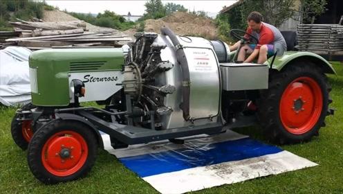 老外太会玩了!飞机发动机装在拖拉机上,刚发动汽车就傻眼了