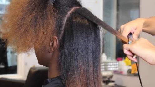 非洲女孩的爆炸头到底有多难拉直?看理发师操作过程,忍不住想笑!