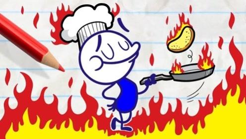 """铅笔人被作者整蛊,做的披萨饼全都消失,结果下起了""""披萨雨""""!"""