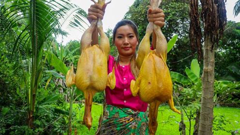 好肥的农村土鸡,农村妹子一次性杀了两只,看看她会是什么吃法?