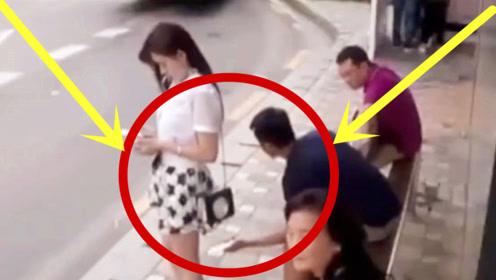 简直禽兽不如!男子当街偷拍女孩裙底,监控拍下气愤20秒!