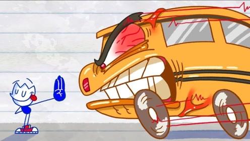 铅笔人疯狂追赶公交车,竟跑出超越光速的高速度,直接穿到恐龙时代!