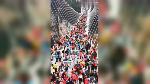 第一次见玻璃桥上这么多人,眼前这,想知道玻璃栈桥的承重量