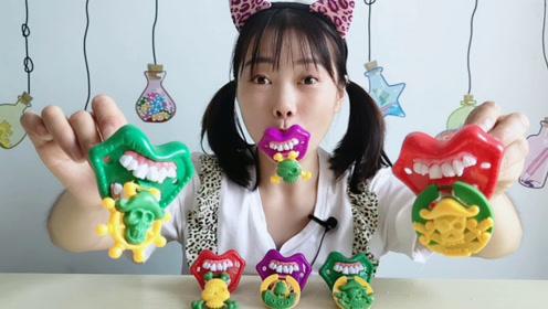 """美食拆箱:妹子吃""""海盗奶嘴糖"""",含住糖果装扮怪,香甜趣味多"""