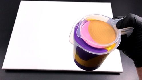 教你双量杯流体艺术抽象画,彩色波纹一圈圈荡漾,成品美到说不出话!
