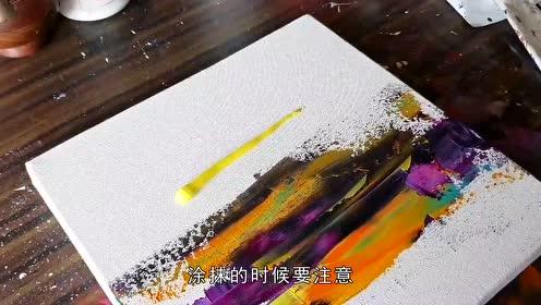 老外亲自教学抽象绘画,多彩颜料绘制瑰丽日落景观,太壮观了!