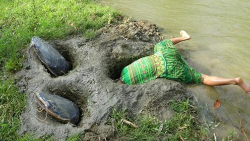 独自饿的咕咕叫,农村夫妻用铲子挖出捕鱼洞穴丢入诱饵,肥鱼轻松捕捉!