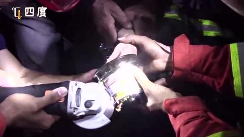"""险!7岁男童手掌卷入榨汁机 消防员用磨光机""""精雕细磨""""成功解救"""