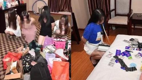刑拘6人!行拘15人!实拍:广西玉林警方捣毁一卖淫窝点 宾馆内5人把风
