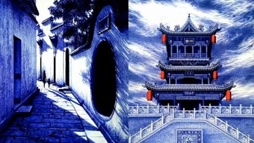 """一秒跪服!农村小伙用圆珠笔画多娇江山,还自己设计""""四合院"""""""