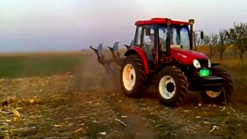 国外农民新买的东方红拖拉机,现场下地测试,动力棒棒的
