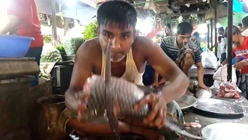 新奇的杀鱼方法,印度老板这样杀鱼,动作慢又笨拙,看的人好急