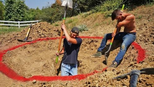本以为小伙要寻宝,挖了半天,这个结果谁能想到?
