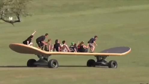 世界上最大的滑板,长10米能站下40人,网友:这怎么滑?