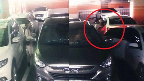 受害人自述案件情景!监拍:河南一女司机车库内突遭蒙面男子强行拖拽
