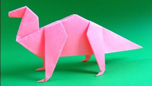 创意折纸手工,教你折叠出一只纸恐龙,方法简单值得收藏
