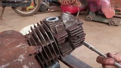 废弃的摩托车发动机,被小伙一波翻新修复,完工后动力不减当年