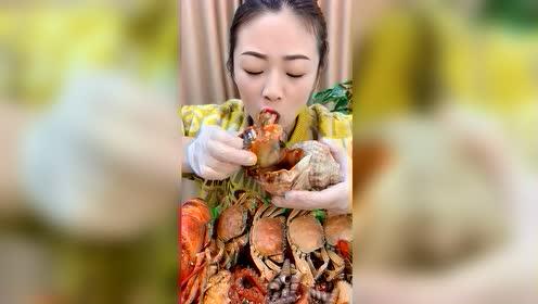 海鲜吃播:超大海螺王
