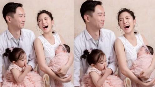杨千霈二胎女儿双满月 一家四口全家福曝光