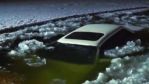 老外作死在结冰湖面玩漂移,下一秒悲剧发生,网友:默哀三秒