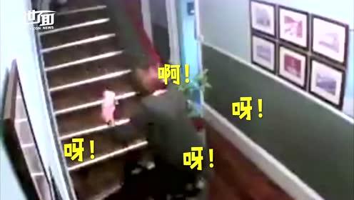醉酒夫妻爬楼梯摇摇欲坠 丈夫从高处滚下妻子不为所动
