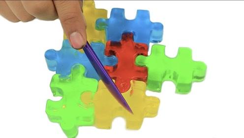 牛人自制Q弹版果冻拼图,画面有趣解压,网友:累了一口吃掉