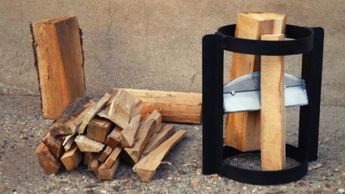 高手制作的劈柴神器,感觉还不如直接用斧头呢,你觉得呢?