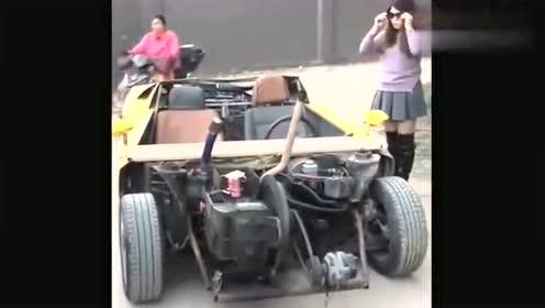 农村姐组装的拖拉机跑车,启动的时候,车门是这么酷的!