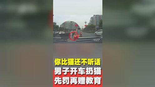 男子将猫丢出车窗交警罚款后赠爱心教育