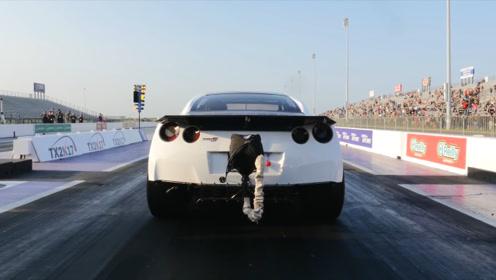 GTR爆改3000匹马力,把右前轮给跑炸了,成为新的GTR战神之王!