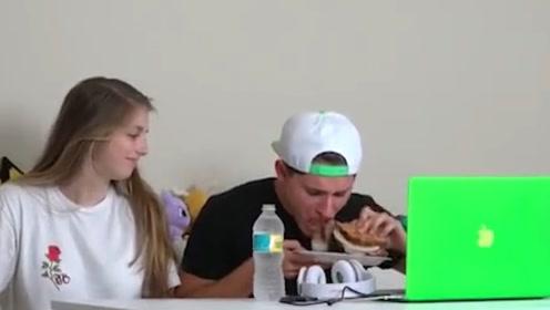 小姐姐恶搞男友,在食物中放这个猛料,连水也换成了伏特加!