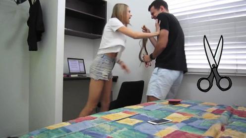 国外小伙用剪刀偷偷剪掉女友头发,结果摄像机被一巴掌打掉在地!