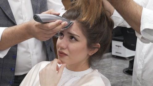 去理发店理发,美女要求剪一个酷炫的发型,接下来画面太喜感