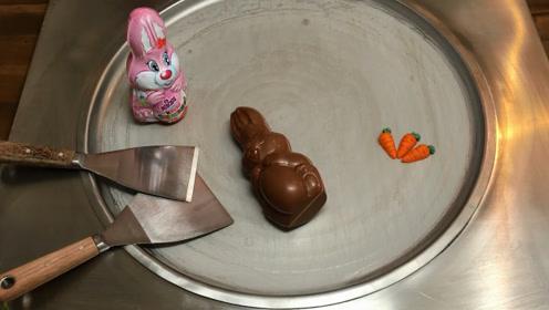 小兔子巧克力,老板把它们加工成冰淇淋,还没做完我就馋疯了!