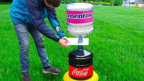 将一桶可乐对准一桶曼妥思会怎样?老外疯狂实验,结果出乎意料!