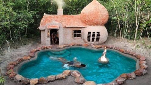 原始技术,荒野建造庇护所小屋,在门口挖个游泳池,太滋润了