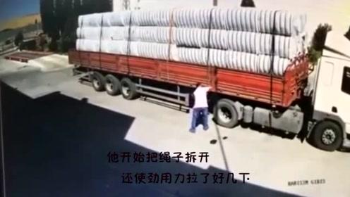这也太惨了吧!一司机自己卸货闪躲不及,被砸晕重伤