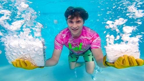 在充满干冰的泳池泡澡,有多刺激看看老外就明白了