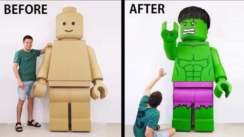 """家里的废纸板先别扔,牛人DIY巨型""""机器人"""",成品看起来很有趣"""