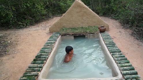 荒野生活,牛人在深山老林建造游泳池,材料全部来自山里