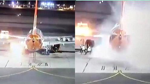 埃及机场一架波音737降落滑行中起火 疑因燃料泄漏