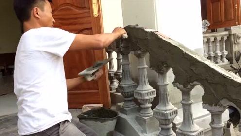 新来的泥瓦匠小伙,工资开到10000,看完修建楼梯扶手过程我服了