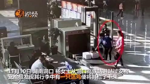 暖心!湖南一女子携带活鸡坐高铁被拦 民警协助将鸡宰杀